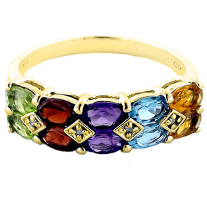Multi Color Gemstone Diamond Yellow 14K Gold Ring