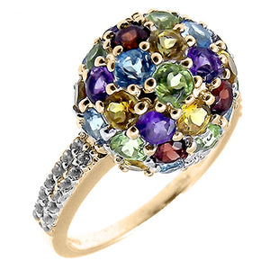 Multi Gem Dome Cluster 10K Yellow Gold Ring with White Zircon Accents