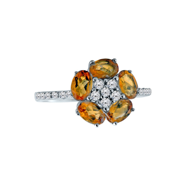 Citrine Flower Gemstone Ring