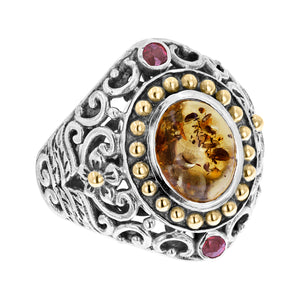 Sterling Silver Amber Ring with Balinese Scroll and 18K Gold Accents