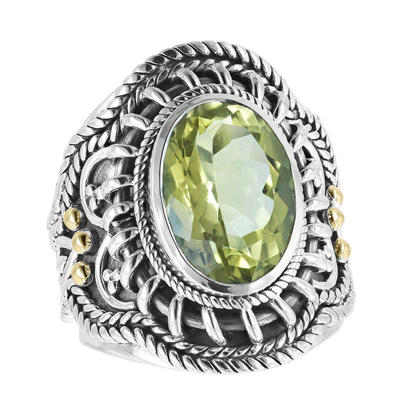 Sterling Silver Oval Gemstone Wire Wrap Herringbone Scroll Ring with 18K Gold Accents