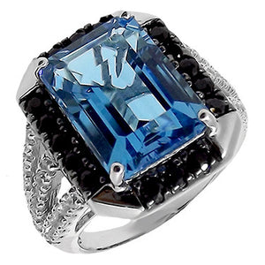 Emerald Cut Gemstone Ring Swiss Blue Topaz & Black Spinel