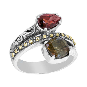 Sterling Silver Andalusite and Garnet Bali Wrap Ring with 18K Gold Accents