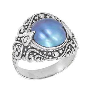 Sterling Silver Blue Mabe Ring