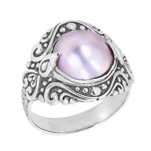 Sterling Silver Pink Mabe Ring