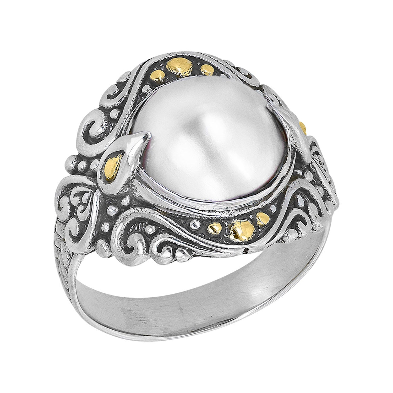 Sterling silver scroll work pearl ring with 18k gold accents
