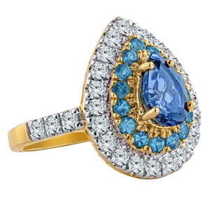 London Blue Topaz Apatite White Zircon 10K Yellow Gold Ring