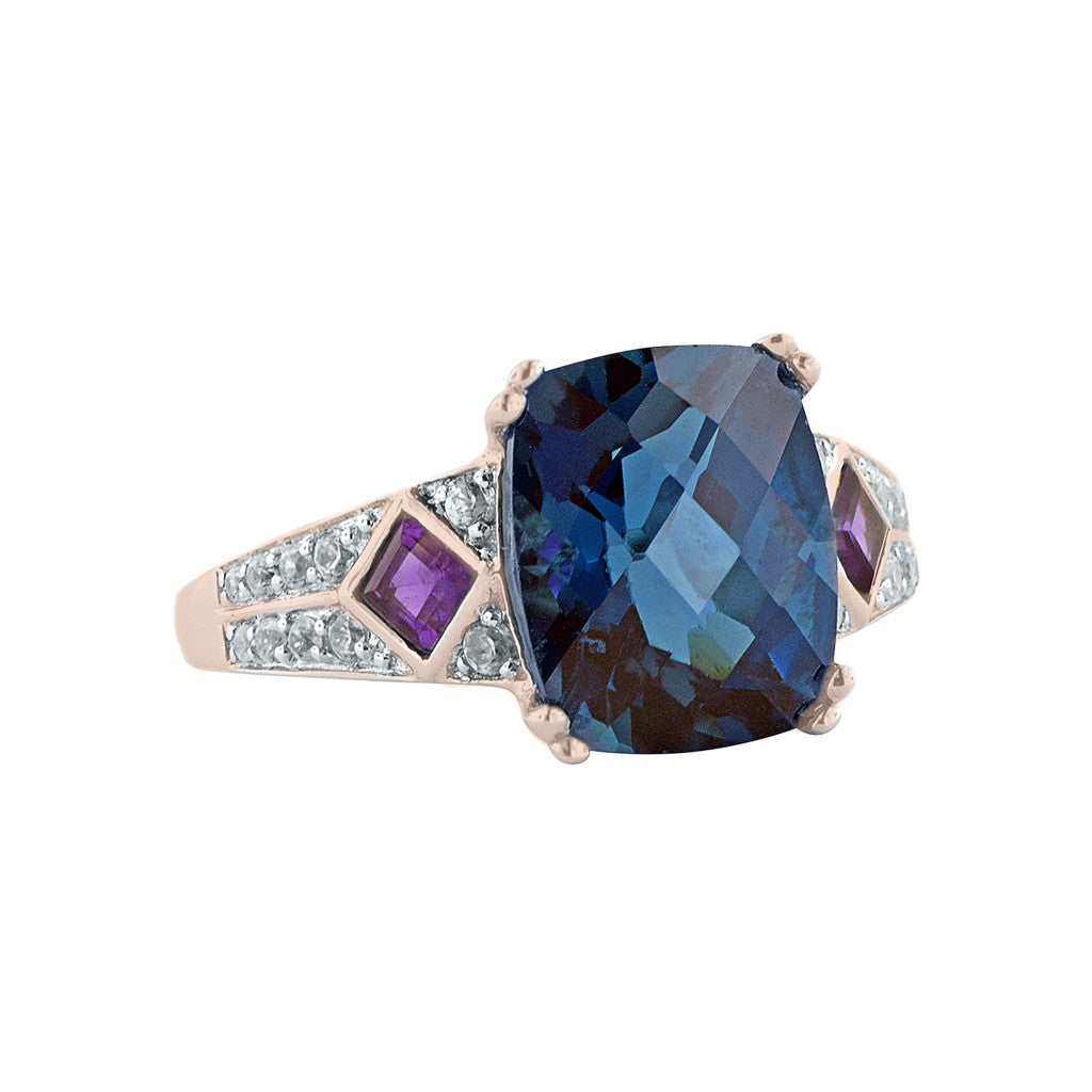 London Blue Topaz Cushion Ring with Amethyst Accents