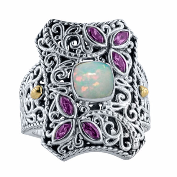 Whimsical Ethiopian Opal and Rhodolite Ring