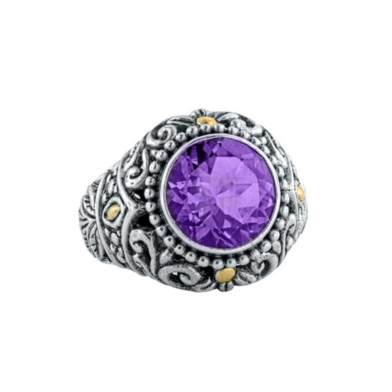 Amethyst Floral Filigree Ring