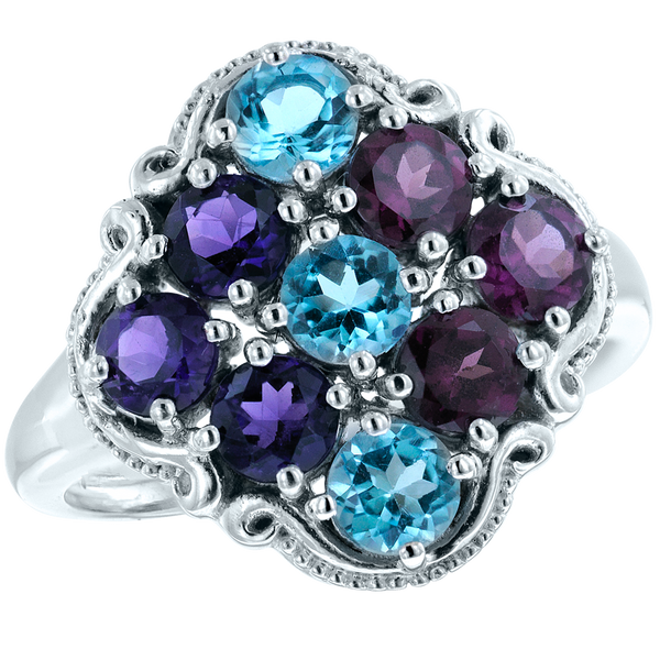 Regalia Ring with Amethyst, Rhodolite, and Blue Topaz
