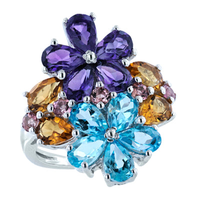 Gardenia Flower Ring Amethyst, Blue Topaz, Citrine, and Pink Tourmaline
