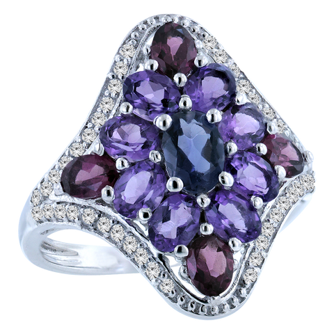 Silver Ring with Purple Iolite, Amethyst, Rhodolite and Topaz