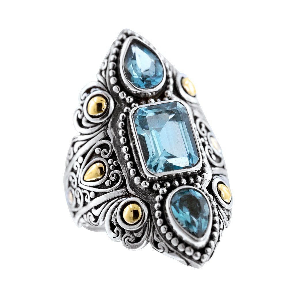 Sterling Silver 18k Gold Blue Topaz Ring