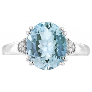 Aquamarine 14K White Gold Ring with Diamond Accents