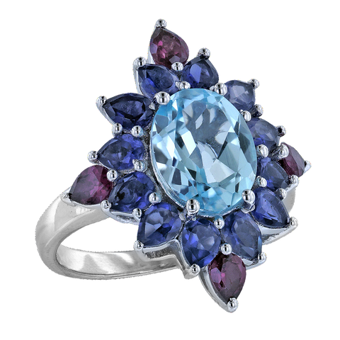 Sky Blue Topaz Silver Ring with Pear Iolite and Rhodolite Accents