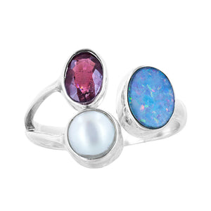 Bali Sterling Silver Adjustable Opal Pink Tourmaline Pearl Ring