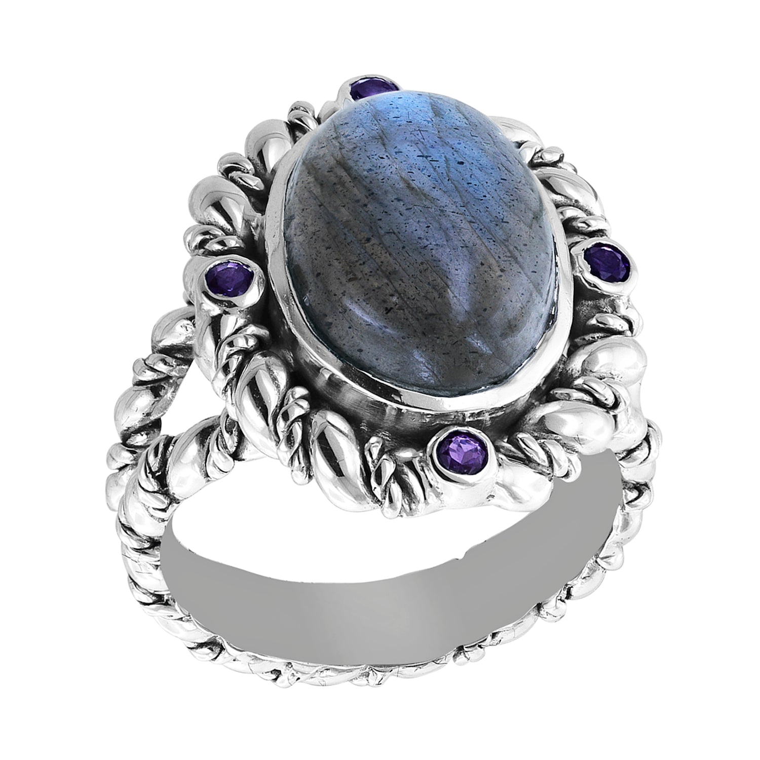 Sterling Silver Bali Labradorite Ring with Double Cable Pattern and African Amethyst Accents