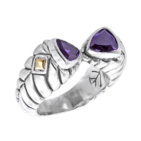 Sterling silver herringbone cable ring with triangular purple stone and 18k gold diamond shapes