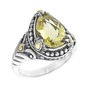 Bali Sterling Silver Pear Shaped Lemon Quartz Ring with Lotus Flower and 18K Gold Accents