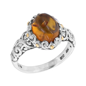 Sterling Silver Amber Bali Scroll Ring with 18K Gold Accents