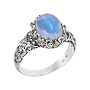 Sterling Silver Ethiopian Opal Bali Scroll Ring with 18K Gold Accents