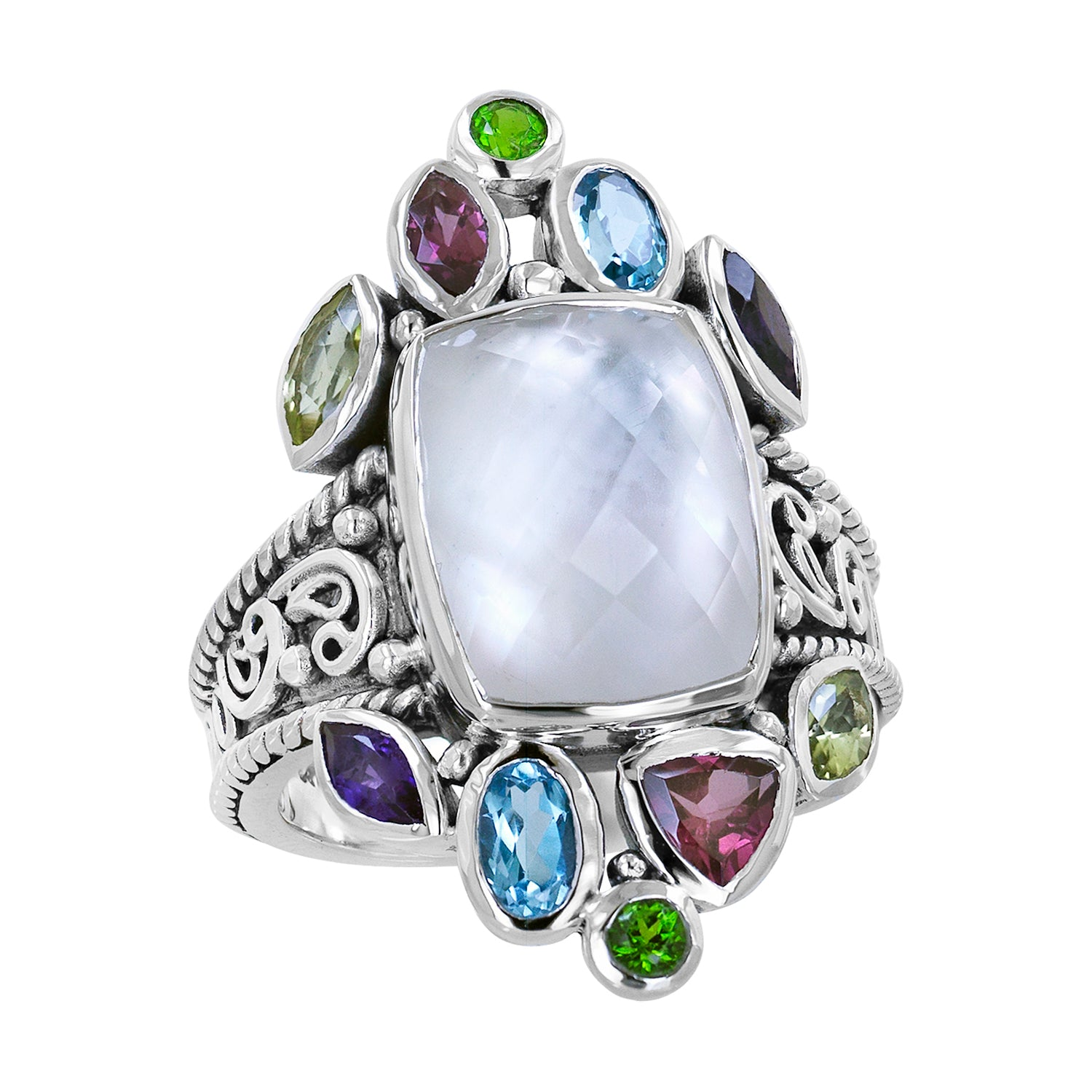 Sterling silver ring with large Mother of Pearl and multi-colored gemstones