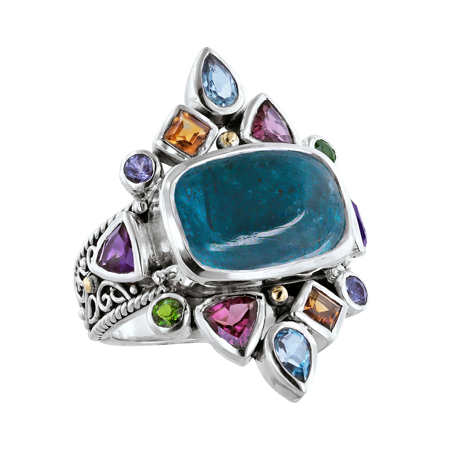Sterling Silver Apatite Multi Color Gemstone Scroll Work Ring