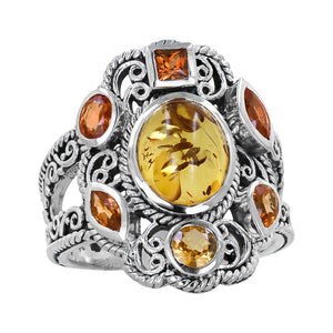 Sterling Silver Amber Orange Sapphire Scroll Work Ring