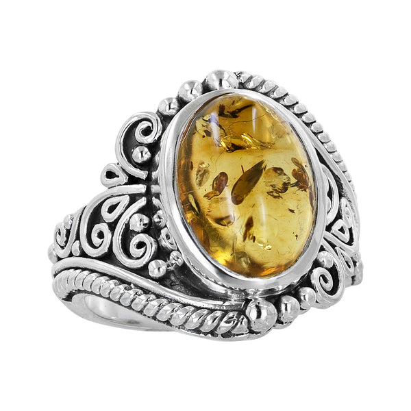 Bali Sterling Silver Amber Scroll Work Ring