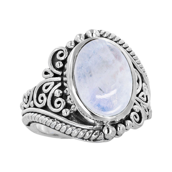 Bali Sterling Silver Moonstone Scroll Work Ring
