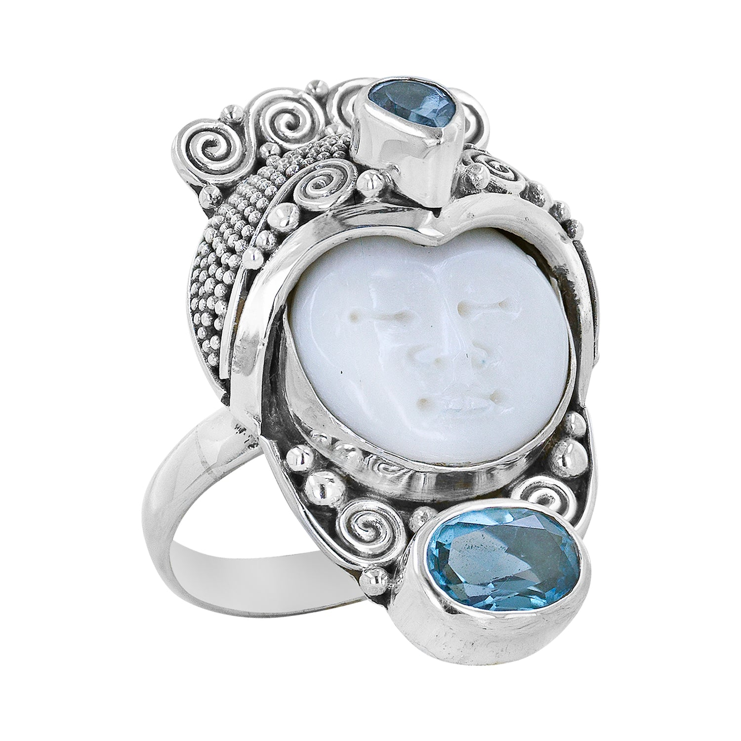 Sterling Silver Goddess Ring with Bone Carved Face and Blue Topaz Accents