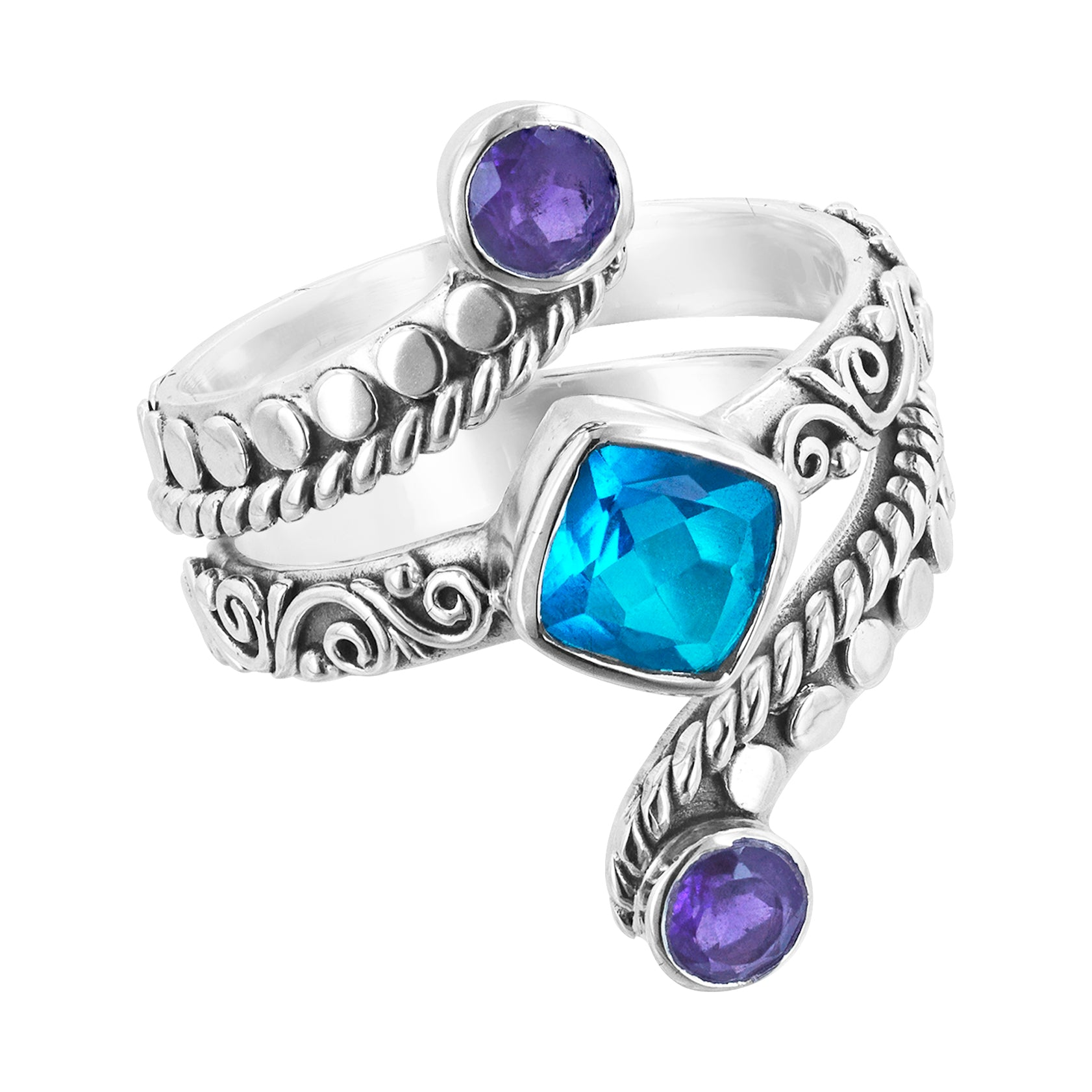 Bali Sterling Silver Wrap Ring with Blue and Purple Stones