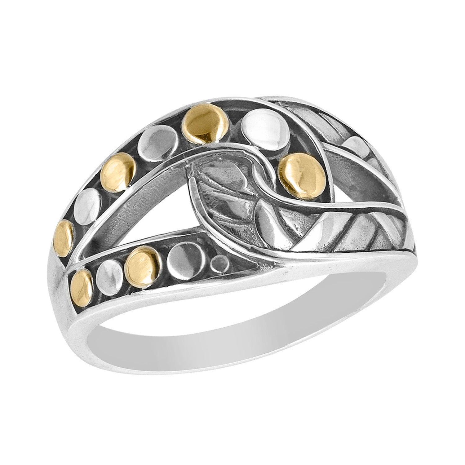 Sterling Silver Intertwined Pattern Ring with 18k Gold Accents