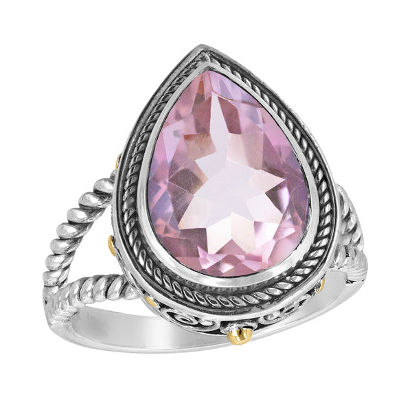 Bali Sterling Silver Pear Shaped Gemstone Ring with Split Shank Cable Band and 18K Gold Accents