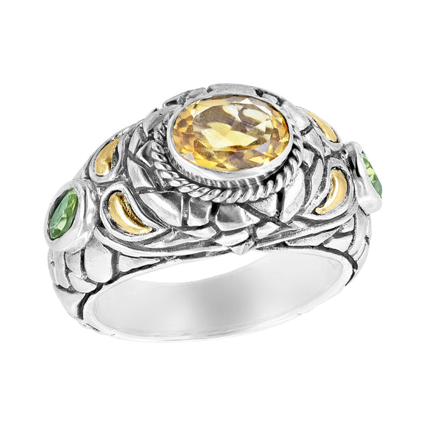 Sterling silver cobblestone yellow and green gemstone ring