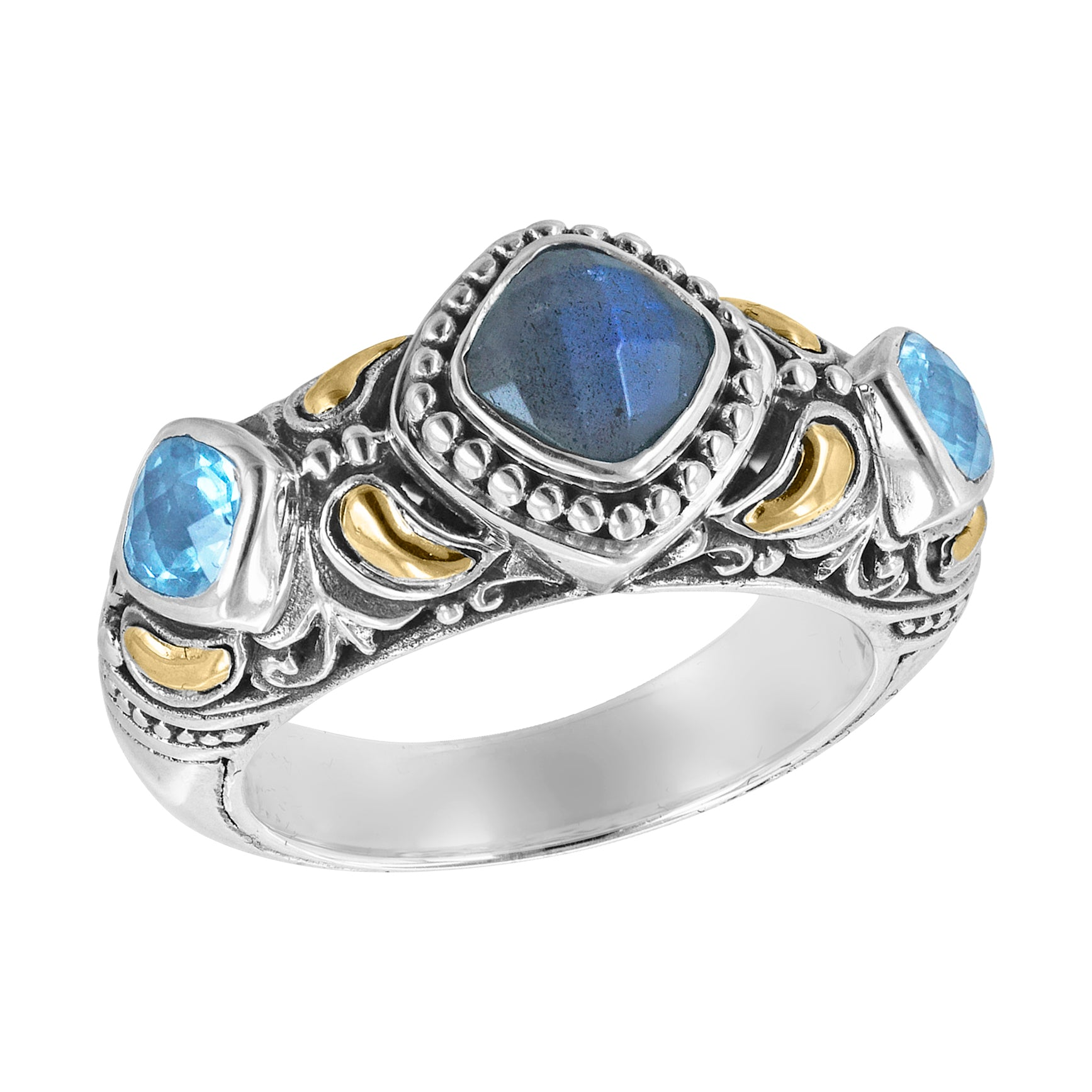 Sterling Silver Labradorite Swiss Blue Topaz Scroll Work Ring with 18K Gold Accents