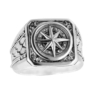 Bali Men's Sterling Silver Compass Signet Ring