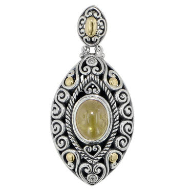 Scrollwork Yellow Tourmaline and Diamond Necklace