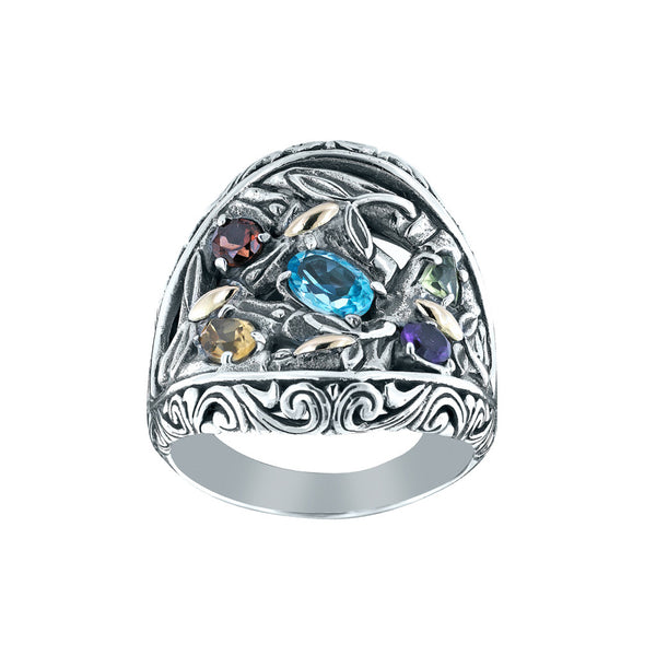 Bamboo Blossom Multi Stone Ring