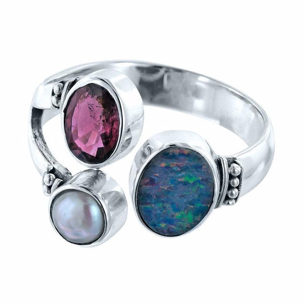 Balinese Treasure Australian Opal Doublet, Pink Tourmaline, and Pearl Ring