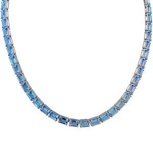 Emerald Cut Swiss Blue Topaz Necklace 17""