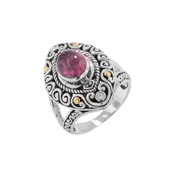 Scrollwork Deep Pink Tourmaline and Diamond Ring