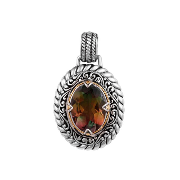 Watermelon Quartz Doublet Cable Pendant