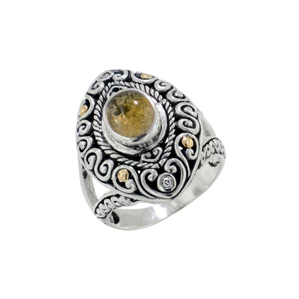 Scrollwork Yellow Tourmaline and Diamond Ring
