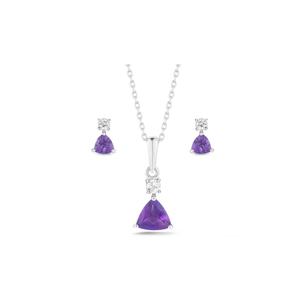 Trillion Amethyst Necklace and Earrings Set