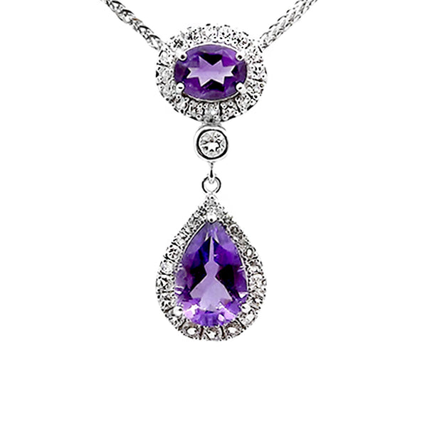 Amethyst and White Topaz Drop Pendant