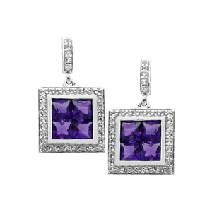 Square Amethyst White Topaz Silver Earrings