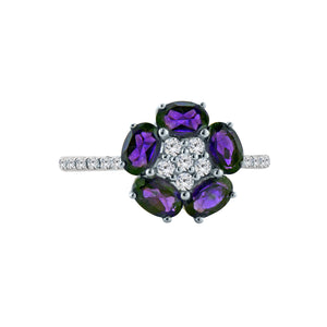 Amethyst Flower Gemstone Ring