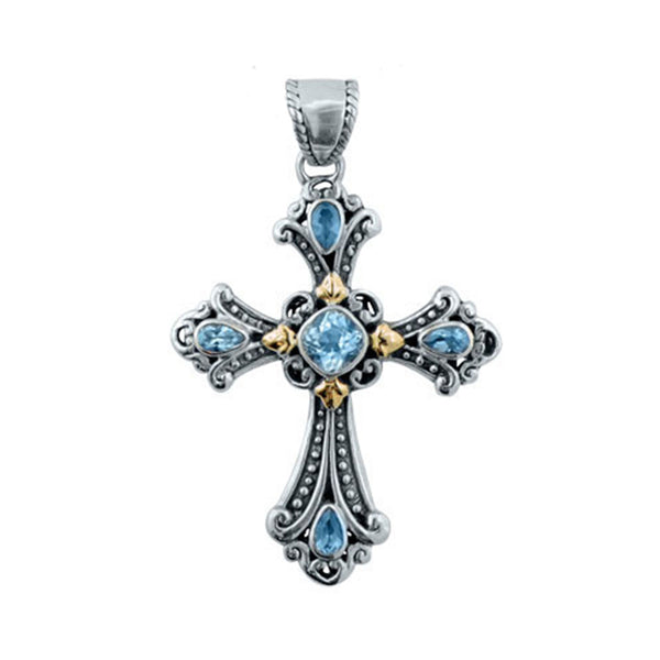 Ornate Blue Topaz Cross Pendant